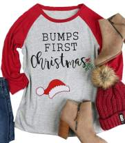 DUTUT Bumps First Christmas Maternity T Shirt Women Funny Cute Santa Hat Holiday Party Tee for Pregnant Women