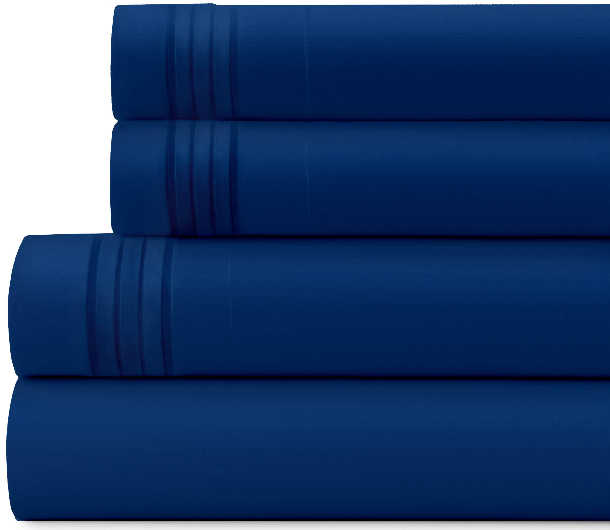 Briarwood Home Bed Sheet Set – Brushed Microfiber 1900 Premium Quality Soft Fabric Breathable Bedding – Deep Pocket – Wrinkle, Fade & Shrinkage Resistant 3 Piece Sheets (Twin/Royal Blue)