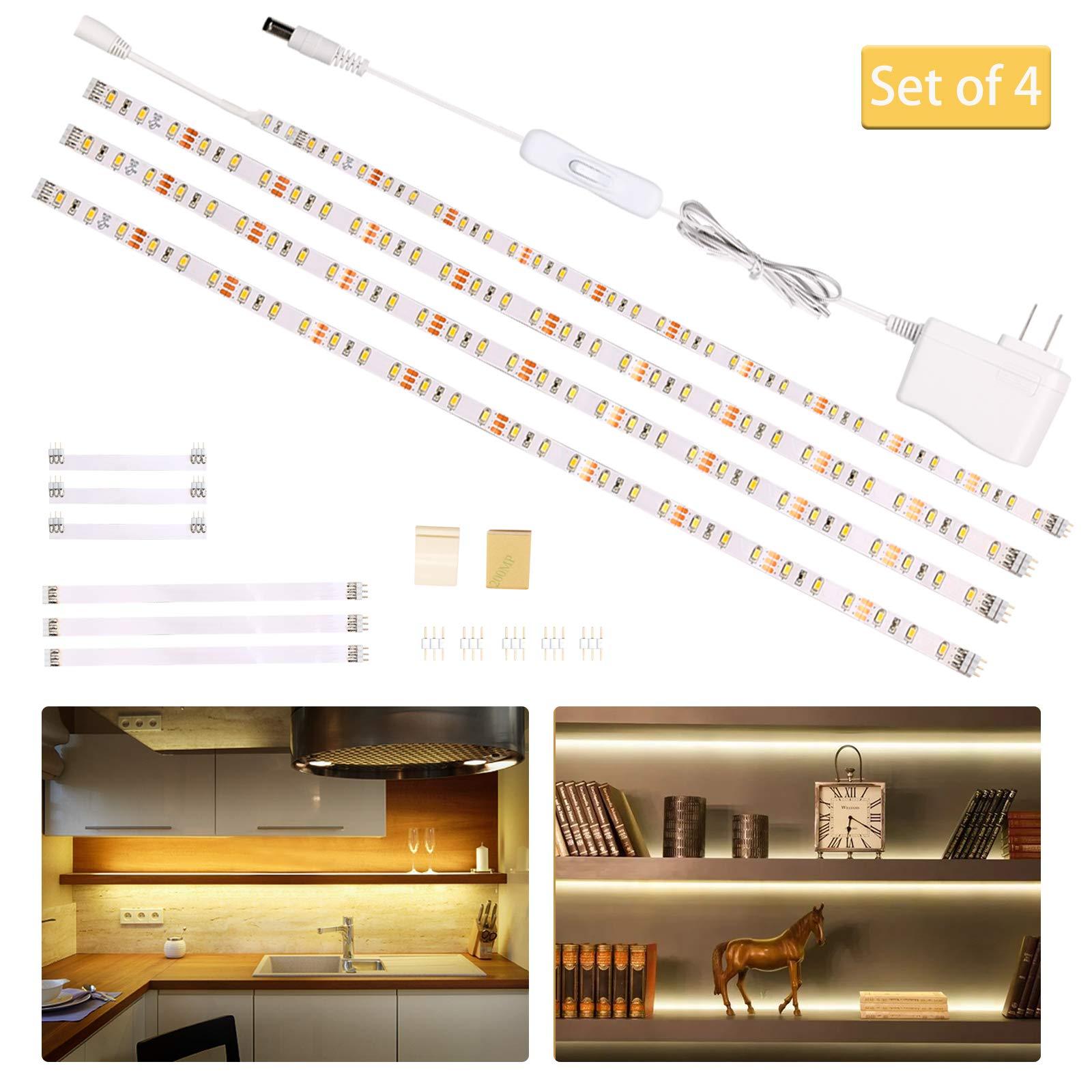 Wobsion Led Under Cabinet Lighting Under Counter Light Bar Led Strip Lights For Kitchen Desk Showcase Shelf Workbench Cupboard Pantry 1100lm 3000k Warmwhite 6 6 Feet Diy Tape Light Kit