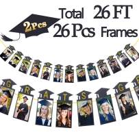 Graduation Party Supplies 2020-2 PCS Total 26Ft Gold Black Graduation Photo Banner Garland - Class of 2020 Grad Party Decorations DIY Kits for Photo Props, College, High School Prom Decorations