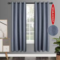 csoft 100% Blackout LinenCurtains with 4 Pass Coating, Energy Efficient Thermal Insulated Window Drapery, Linen Room Darkening Curtains for Living Room Bedroom(Blue 52W X 96L Ihch 2 Panels0