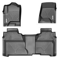 YITAMOTOR Floor Mats Compatible with 2014-2018 Chevy Silverado/GMC Sierra 1500 Crew Cab, 2015-2019 Silverado/Sierra 2500 HD/3500 HD Crew Cab, Custom Fit Liners, 1st & 2nd Row All-Weather Protection