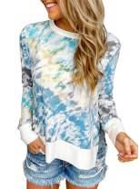 Aleumdr Women's Tie Dye Long Sleeve Sweatshirts Casual Loose Fit Pullover Shirts Tops(S-XXL)