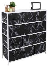 Sorbus Dresser with 8 Drawers - Furniture Storage Chest Tower Unit for Bedroom, Hallway, Closet, Office Organization - Steel Frame, Wood Top, Easy Pull Fabric Bins (Marble Black – White Frame)
