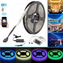 Sumaote Waterproof LED Strip Lights Kit 16.4Ft 300LED SMD 5050 RGB WiFi Wireless Smart Phone Controlled Color Changing Tape Light Kit for Bedroom Stair Decor, Fit for Alexa Google Assistant