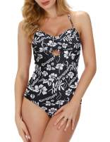 GRACE KARIN Women Halter One-Piece Swimsuit Print Padded Push up Bathing Suit