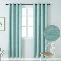 Colokey Elegant Cotton Blackout Curtains Thermal Insulated Single Panel for Bedroom Living Room,Blue,100x95-inch,1 Panel