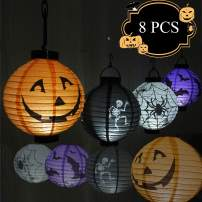 GRULLIN Halloween LED Paper Lantern Set 8 Pcs,Print Pumpkin Spider Bat Skeleton Theme Lantern Eco Friendly & Safe for Kid Children Halloween Party Decoration