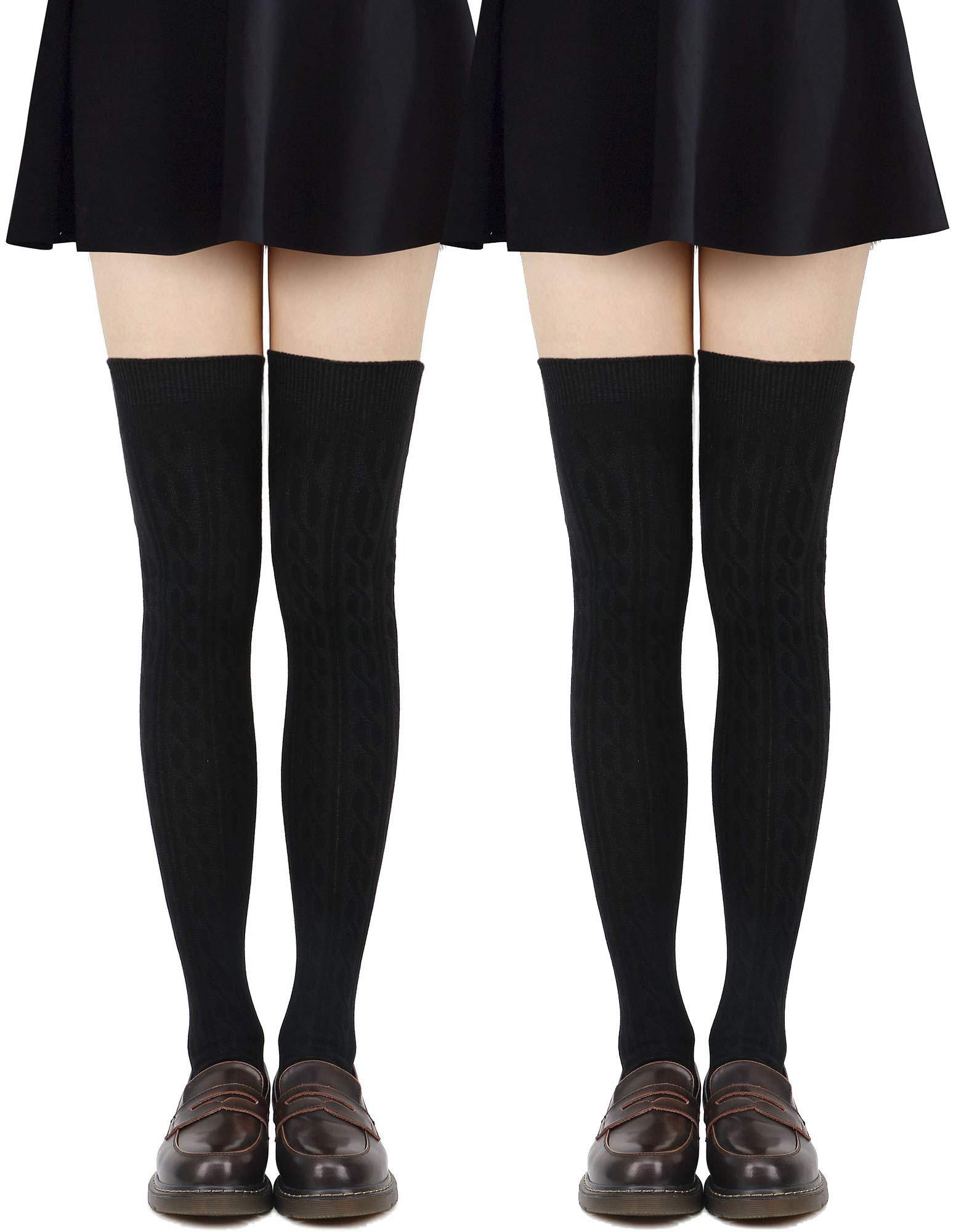 Women's Cable Knit Knee-High Winter Socks - 1-3 Packs