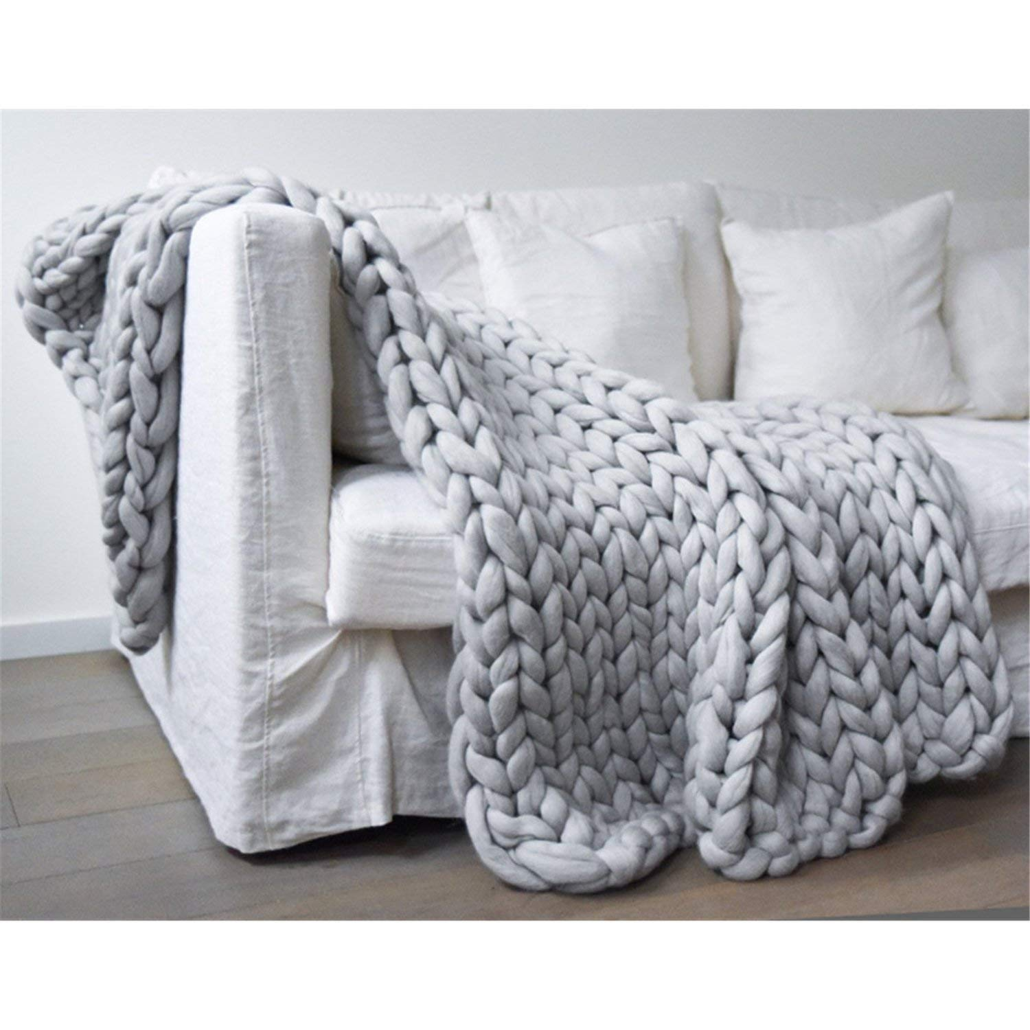 """EASTSURE Chunky Knit Blanket Heavy Thick Yarn Wool Bulky Hand Knitted Throw Soft Sofa Blanket Pet Bed Home Decor Gift (Grey) 32""""x32"""""""