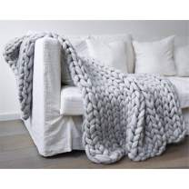"""EASTSURE Chunky Knit Blanket Heavy Thick Yarn Wool Bulky Hand Knitted Throw Soft Sofa Blanket Pet Bed Home Decor Gift (Grey) 60""""x60"""""""