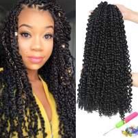 UNA 7 packs Passion Twist Hair Water Wave Crochet Braids for Passion Twist Crochet Hair Passion Twist Braiding Hair (18inch,7packs, 1B)