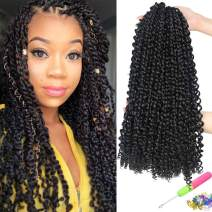 "UNA 7 packs Passion Twist Hair Water Wave Crochet Braids for Passion Twist Crochet Hair Passion Twist Braiding Hair (14""7packs, 1B)"