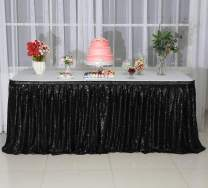 SquarePie Sequin Table Skirt for Rectangle Square Round Table Party(Size: L 6ft,H 30in; Color: Black)