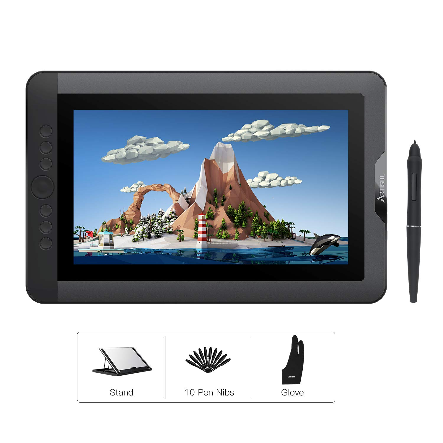 Artisul D13S 13.3 Inch Graphics Drawing Monitor Pen Display with 8192 Levels Battery-Free Stylus 1920x1080 FHD Graphics Drawing Tablet with Screen Lightweight for On The Go or Home Office