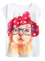 futurino Women's Cute Cat Graphic Abstract Paint Splatter Casual T-Shirt Top