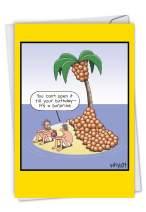 NobleWorks - Coconut Surprise - Comic Island Humor, Happy Birthday Greeting Notecard with Envelope C7007BDG