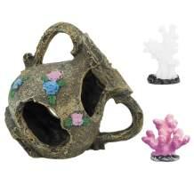 RIBOLI Resin Broken Vase Set Cave Aquarium Accessories for Fish Tank Decorations, Broken Vase x 1, Coral x 2