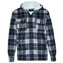 Men's Sherpa Lined Fleece Zip Up Winter Warm Plaid Flannel Jacket with Hoodie