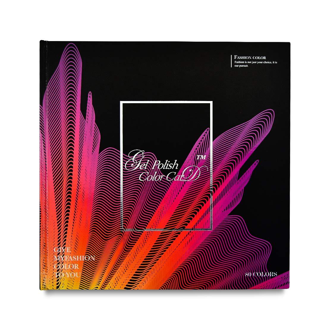 Pro 80 Colors Photo Album Oval Flat Tips Design Printed Pattern Nail Gel Polish Display Card Book Chart for Nail Art Salon, HJ-NDB026