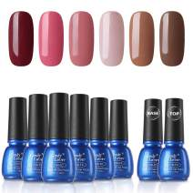 Gel Nail Polish Sets 8 Bottles - Candy Lover Selected 6 Popular Fall Colors Pink Red Brown Pure Pastel with Top Base Coat Set, UV LED Soak Off Nail Gel Polish Home Manicure Varnish Kit