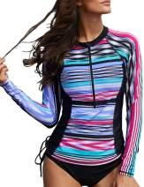 Astylish Women's Sexy Removable Pads Slim Fit Surfing Sport Long Raglan Sleeve Rashguard Swimwear Swimsuit