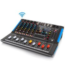 6-Channel Bluetooth Studio Audio Mixer - DJ Sound Controller Interface with USB Drive for PC Recording Input, XLR Microphone Jack, 48V Power, Input/Output for Professional and Beginners - PMXU67BT
