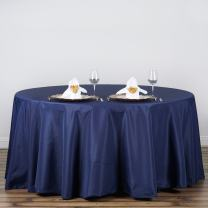 BalsaCircle 120 inch Navy Blue Round Tablecloths Fabric Table Cover Linens for Wedding Party Polyester Reception Banquet Events Kitchen Dining