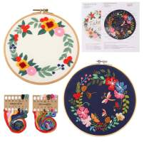 DIYASY 2 Pcs Embroidery Start Kit for Beginners,Cross Stitch for Adult Include Floral Cloth,Bamboo Embroidery Hoops, Color Threads, Instructions and Needles.