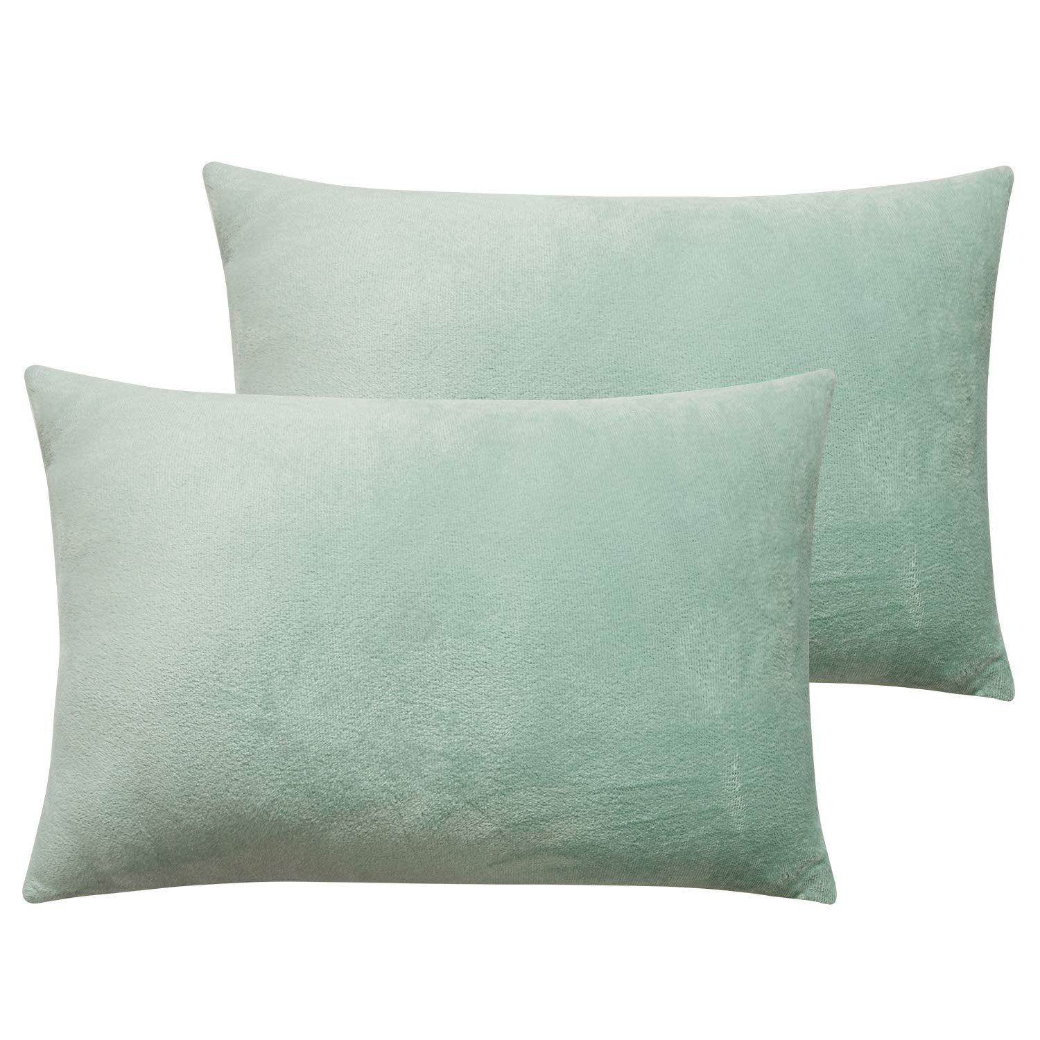 NTBAY Zippered Velvet Toddler Pillowcases, 2 Pack Super Soft and Cozy Luxury Travel Solid Color Pillow Covers, 13 x 18 Inches, Cyan