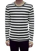 uxcell Men Long Sleeves Stripes Slim Fit Tee Shirt