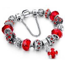 Morenitor Charm Bracelet, Beaded Bracelet Handmade Carved Sterling Silver Plated Snake Chain Bead Bracelet Jewelry Gifts for Women Mom Grandma, 7.68 Inch (Red)