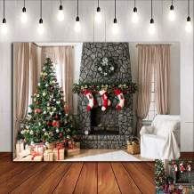 Indoor Christmas Party Decorations Vinyl 7x5ft Fireplace Xmas Tree Gifts Photography Backdrop Birthday Supplies Photo Background Holiday Winter Friends Photo Booths Studio Props Banner