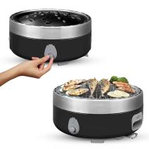 Portable Charcoal Outdoor BBQ Grill For Camping With Travel Bag - Small Tabletop Smoke & Smokeless Pan Optional - Built In Electric Fan Power Supplied By Battery Charger Or Power Bank. (Luxury Black)