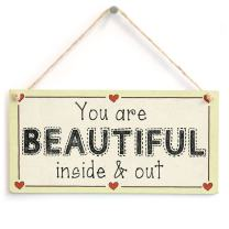 """Meijiafei You are Beautiful Inside & Out - Motivational Sweet Love Heart Sign 10""""x5"""""""