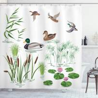 """Ambesonne Rubber Duck Shower Curtain, Lake Animals and Plants with Lily Flowers Reeds Cane in The Pond Nature Park, Cloth Fabric Bathroom Decor Set with Hooks, 75"""" Long, Green White"""