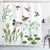"Ambesonne Rubber Duck Shower Curtain, Lake Animals and Plants with Lily Flowers Reeds Cane in The Pond Nature Park, Cloth Fabric Bathroom Decor Set with Hooks, 75"" Long, Green White"