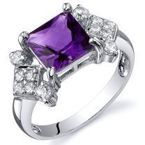 Amethyst Princess Cut Ring Sterling Silver Rhodium Nickel Finish 1.50 Carats Sizes 5 to 9