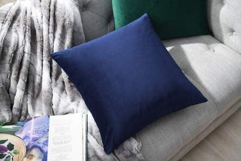 COMFORTLAND New Year/Christmas Decorative Couch Pillow Cases 18x18 Dark Blue: 2 Pack Cozy Soft Velvet Square Throw Pillow Covers for Farmhouse Sofa Bed Chair Home Decor Decorations