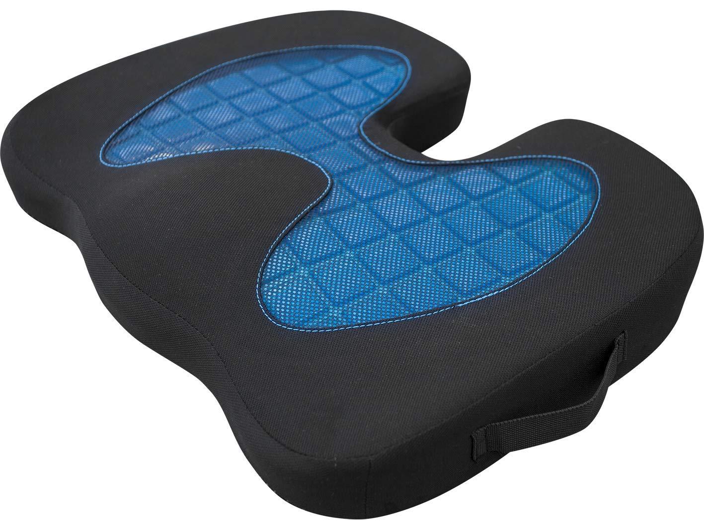 PIC AUTO Gel Memory Foam Seat Cushion - Back Sciatica Hip Tailbone Orthopedic Pain Relief - Office Chair Desk Wheelchair Stadium Car Seat Cushion (Blue, Gel Seat Cushion)