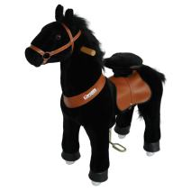 PonyCycle Official Walking Horse No Battery No Electricity Mechanical Pony Black Giddy up Pony Plush Toy Walking Animal for Age 3-5 Years Small Size - N3183
