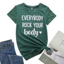 TrendiMax Women's Graphic Heart T Shirts Short Sleeve Funny Print Summer Tees