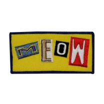 Meow Cat Name Tag Patch Kitty Kitten Badge Symbol Embroidered Iron On Applique