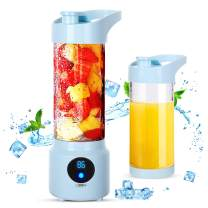 Portable Blender Personal Size Blender Shakes and Smoothies 450ml, Zeonetak Blender Juicer Cup Juice shakes and Smoothies USB Rechargeable Juicer Bottle Cup 4000mAh Batteries Household Fruit Mixer Baby Travel Office Home Gym Sports