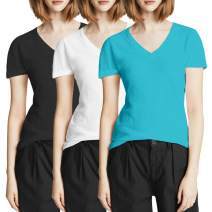 TAIPOVE Women's Short-Sleeve V-Neck T-Shirt Cotton Casual Basic Stretch Tee Top Summer Shirts 1/3 Pack