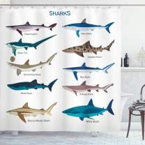 """Ambesonne Shark Shower Curtain, Types of Sharks Pattern Whaler Piked Dogfish Whlae Shark Maritime Design Nautical, Cloth Fabric Bathroom Decor Set with Hooks, 70"""" Long, Blue Tan"""