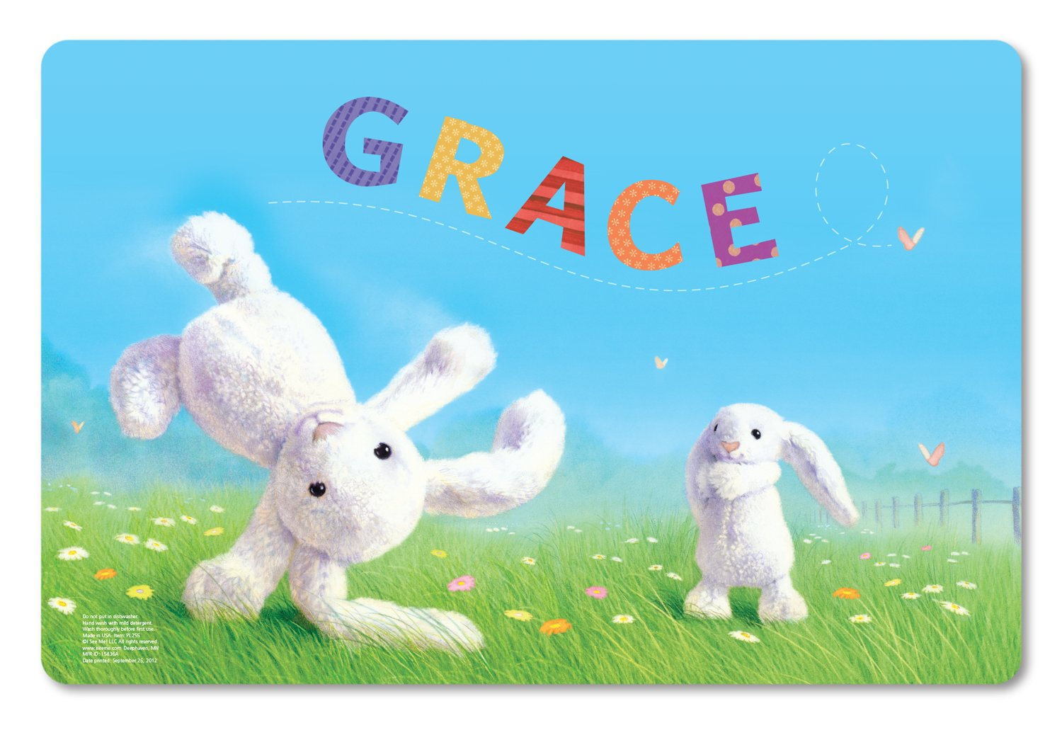 Kids Placemat Personalized with Child's Name, Custom Dining Placemat, Unique Gift for Boys and Girls, Easter Bunny