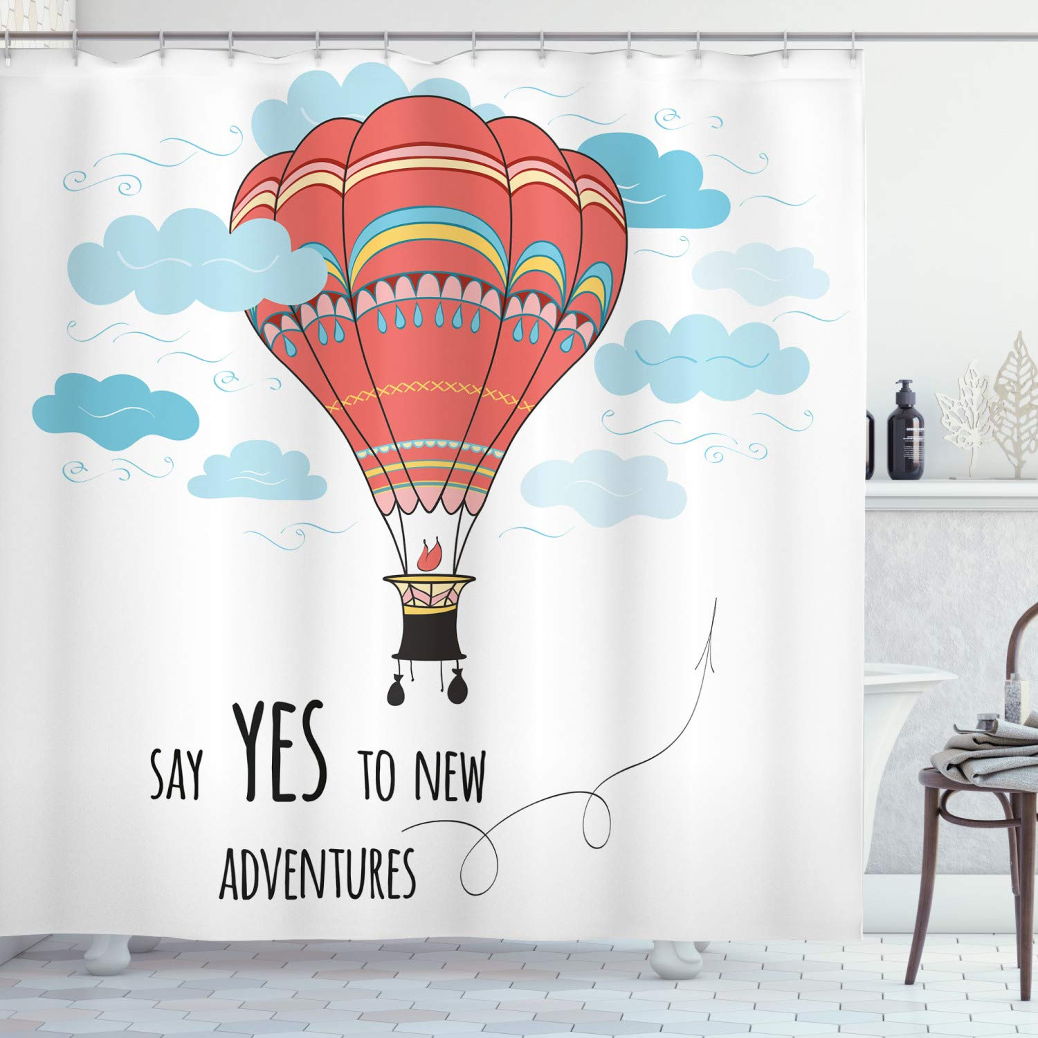 """Ambesonne Cartoon Shower Curtain, Inspirational Words Say Yes to New Adventures Hand Drawn Hot Air Balloon, Cloth Fabric Bathroom Decor Set with Hooks, 70"""" Long, Mint Pink"""