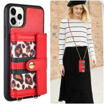 iPhone 11 Pro Wallet Case, JLFCH iPhone 11 Pro Crossbody Case with Zipper Credit Card Slot Holder Wrist Strap Lanyard Protective Women Girl Leopard Print Purse for iPhone 11 Pro, 5.8 inch - Red