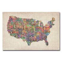 US Cities Text Map VI by Michael Tompsett, 16x24-Inch Canvas Wall Art